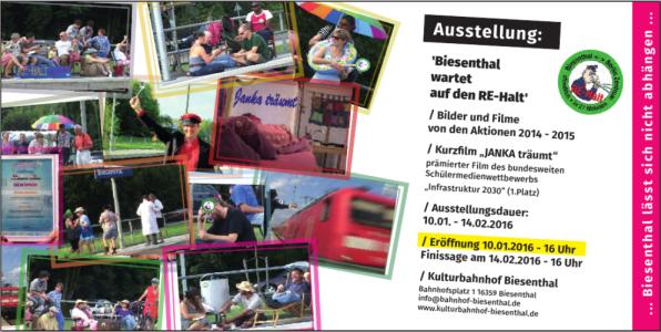 Einladungskarte RE-Halt-Ausstellung Biesenthal