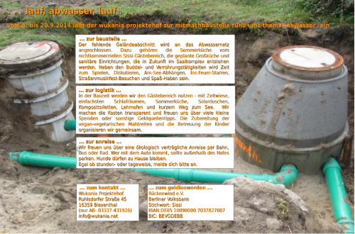 Einladung Abwasserbaustelle Wukania 2014